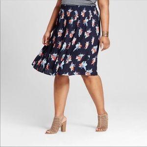 Ava & Viv Bird Of Paradise  Floral Pleated Skirt